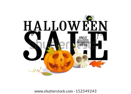 Halloween sale offer design template. - stock vector