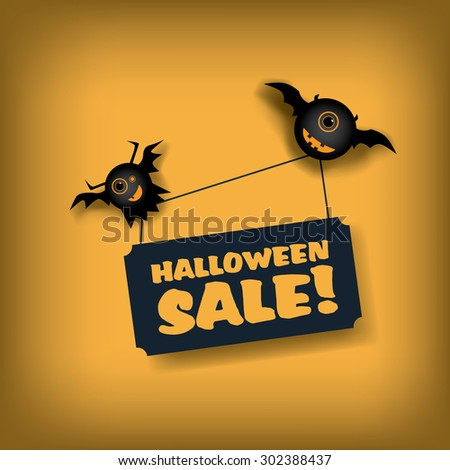 Halloween sale poster template. Special offer promotions. Discounts advertising banner. Two flying monsters. Eps10 vector illustration. - stock vector