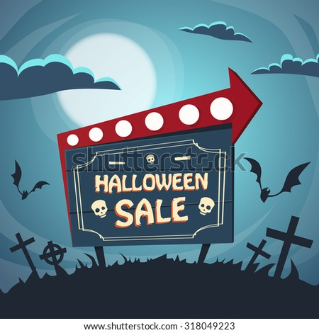 Halloween Sale Promotional Sign Board Cemetery Flat Vector Illustration - stock vector