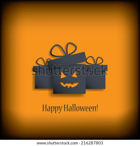 Halloween sales poster with gifts with evil smile. Eps10 vector illustration. - stock vector