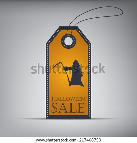 Halloween sales price tag with ghost. Eps10 vector illustration - stock vector