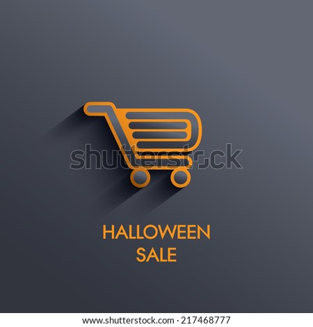 Halloween sales shopping cart symbol with long shadow. Eps10 vector illustration. - stock vector
