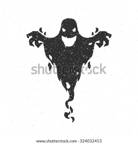 Halloween scary ghost isolated on white vector illustration - stock vector