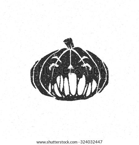 Halloween scary pumpkin face isolated on white vector illustration - stock vector