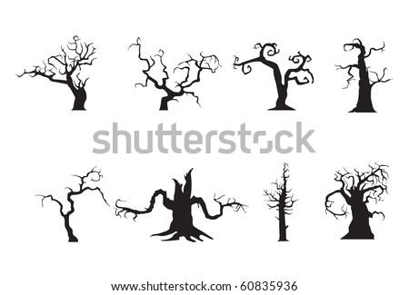 Halloween scary trees, vector - stock vector