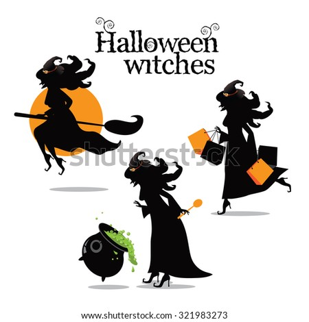 Halloween scary witch collection. EPS 10 vector illustration for advertising, marketing, web page - stock vector