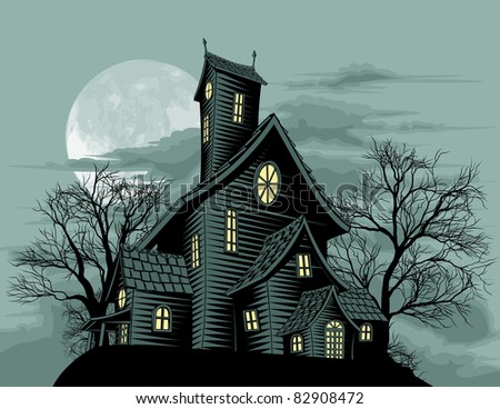 Halloween scene. Illustration of a spooky haunted ghost house - stock vector