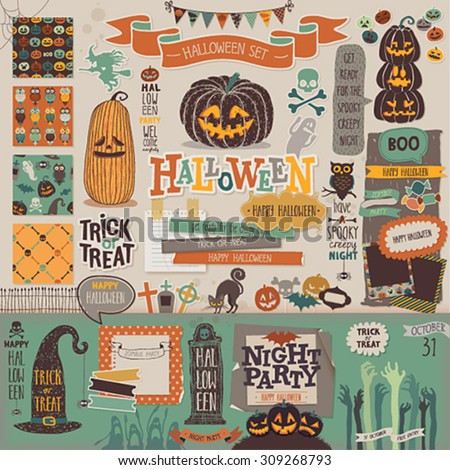 Halloween scrapbook set - decorative elements. Vector illustration. - stock vector
