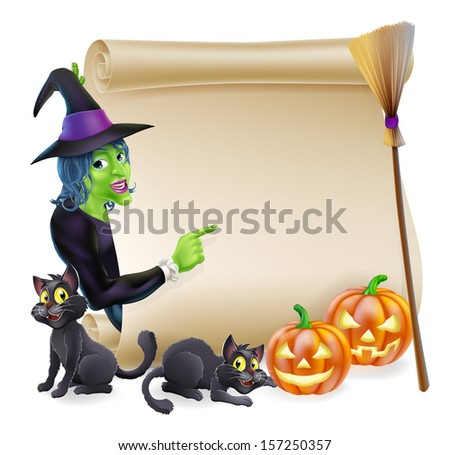 Halloween scroll or banner sign with orange carved Halloween pumpkins and black witch's cats, witch's broom stick and cartoon witch character - stock vector