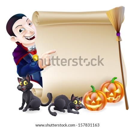 Halloween scroll or banner sign with orange carved Halloween pumpkins and black witch's cats, witch's broom stick and cartoon Dracula vampire character - stock vector
