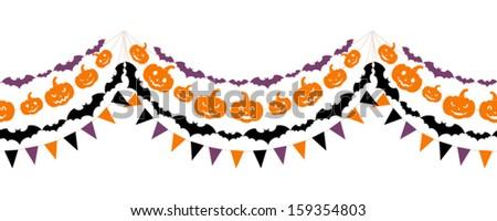 Halloween seamless garland. Vector illustration.  - stock vector