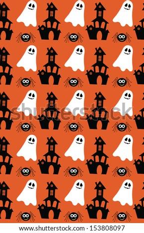 halloween seamless pattern design. vector illustration - stock vector
