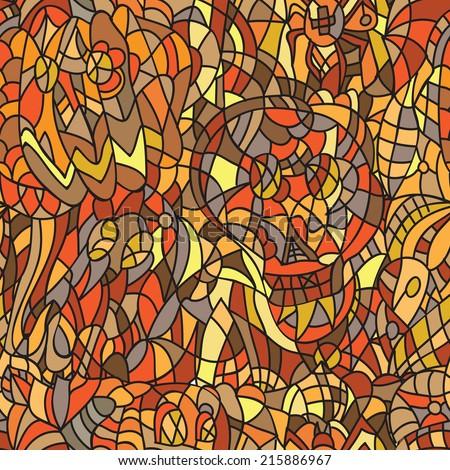 Halloween seamless pattern - doodle  style - Illustration vector  - stock vector