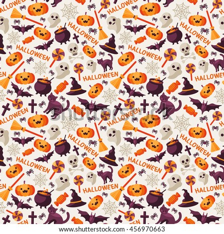 Halloween Seamless Pattern with Orange Pumpkin, Spider Web, Witch Hat, Broom and Cauldron, Skull and Crossbones. Vector Illustration. Flat Icons with Text on Bright Background - stock vector