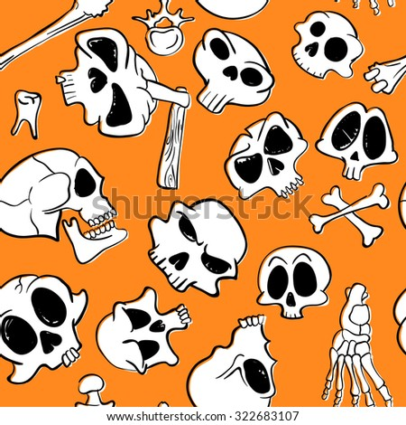 Halloween seamless pattern with skulls and bones - stock vector