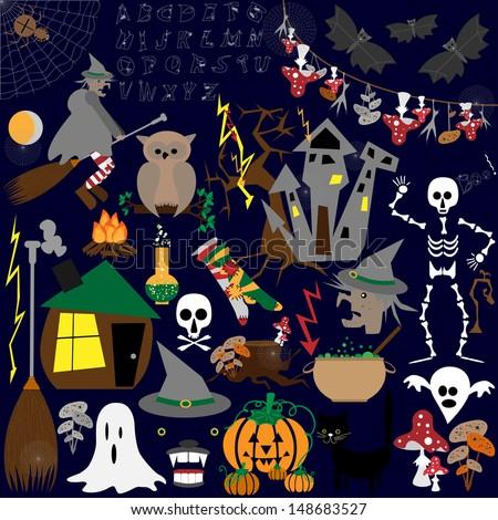 Halloween set. - stock vector