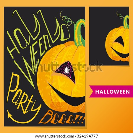Halloween set. Colorful poster with pumpkin and inscription Halloween party Boo!!! for your artworks.  - stock vector