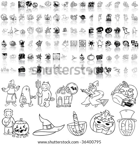 Halloween set of black sketch. Part 2. Isolated groups and layers. - stock vector