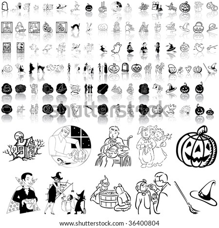 Halloween set of black sketch. Part 5. Isolated groups and layers. - stock vector
