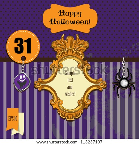Halloween set with ghost,vintage frame,happy halloween greetings. Vector illustration. - stock vector