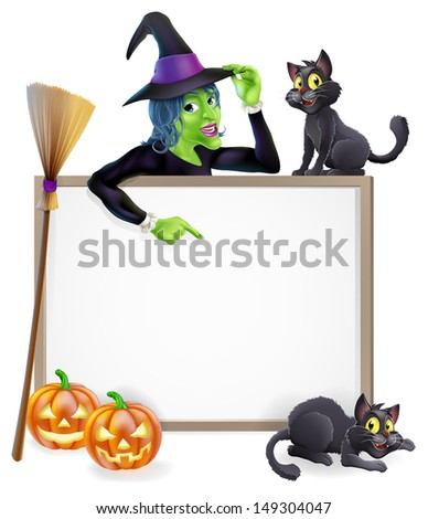 Halloween sign or banner with orange Halloween pumpkins and black witch's cats, witch's broom stick and cartoon witch character  - stock vector