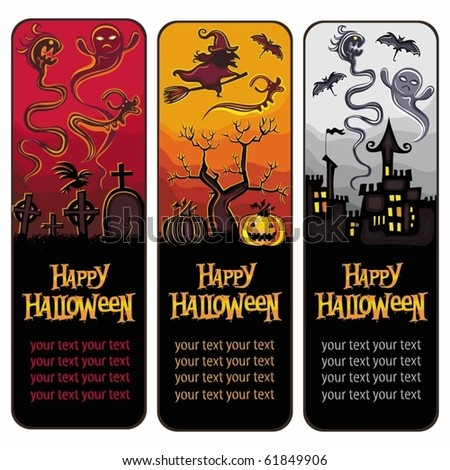 Halloween silhouettes banners - stock vector
