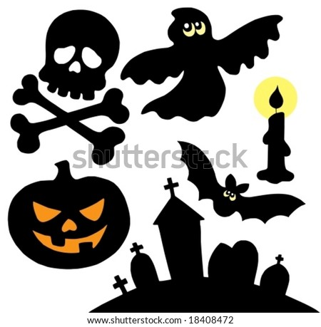 Halloween silhouettes collection 2 - vector illustration. - stock vector
