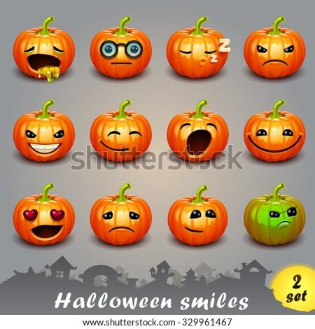 Halloween smiles-set 2 - stock vector