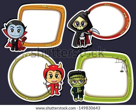 Halloween stickers set - stock vector
