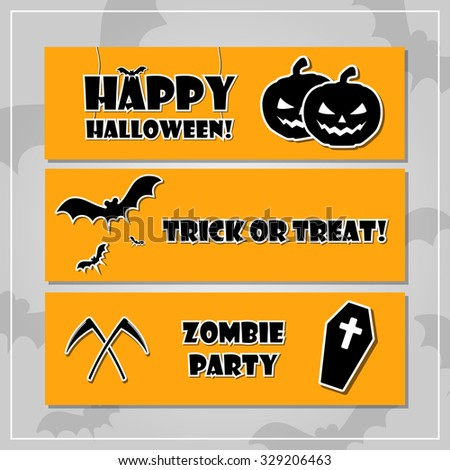 Halloween style banner set with Happy Halloween, Trick or treat and Zombie party text and pumpkin lantern, bat, corpse and scythe icons. Orange scary Halloween banners on a background with bats. - stock vector