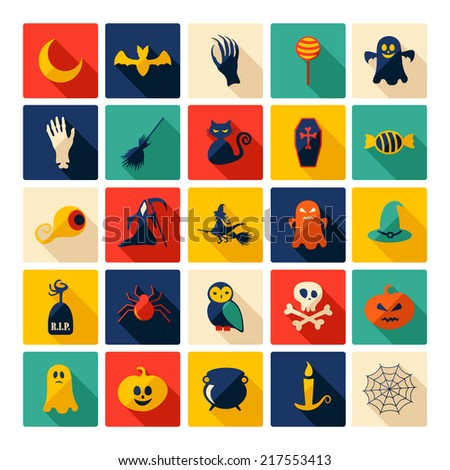 Halloween symbols collection. Flat icons. Horrendous holiday - stock vector