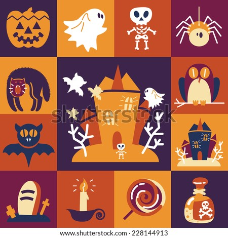Halloween symbols collection vector funny flat icons - stock vector