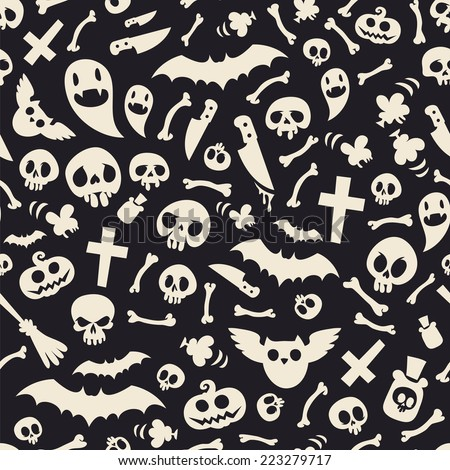 Halloween Symbols Seamless Pattern Contrast. Editable pattern in swatches. - stock vector
