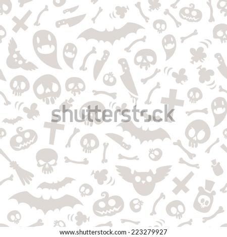 Halloween Symbols Seamless Pattern Light. Editable pattern in swatches. - stock vector