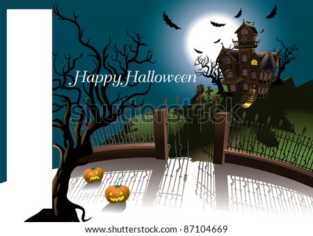 Halloween Terror House card - stock vector