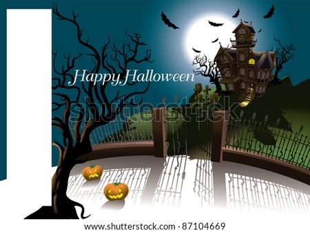 Halloween Terror House card - stock vector