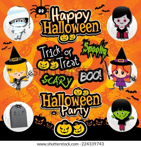Halloween text and icons on a textured orange and black background with dracula, vampire, frankenstein, mummies, witches, spooky, boo, scary text. - stock vector