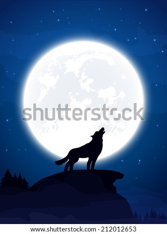 Halloween theme, night background with wolf and Moon, illustration. - stock vector