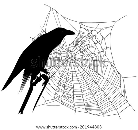 halloween theme raven with spider web decor - black and white ominous silhouettes - stock vector