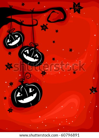 Halloween-themed Design Featuring Creepy Jack-o-lanterns Hanging From the Branch of a Dead Tree - Vector - stock vector