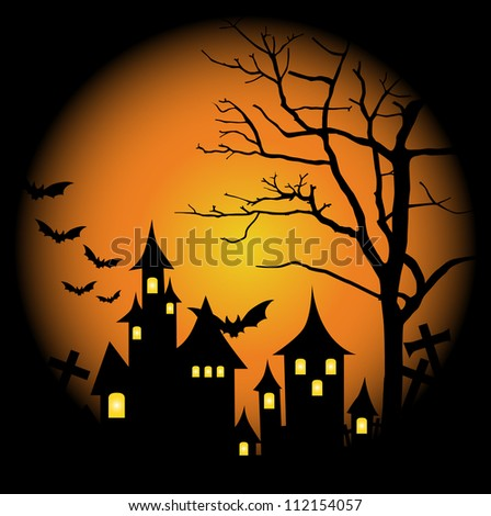 Halloween-themed Design: Halloween background with haunted house, bats and full moon, vector illustration. - stock vector