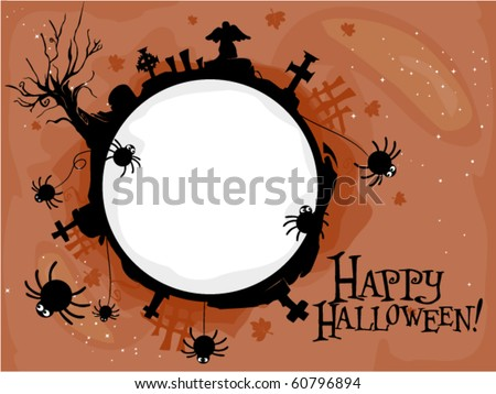 Halloween-themed Frame Featuring a Creepy Graveyard - Vector - stock vector