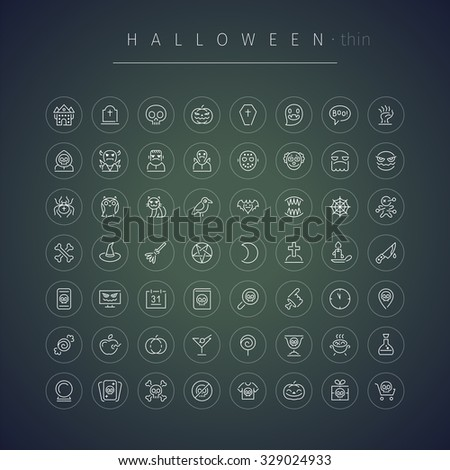 Halloween Thin Rounded Icons Set - stock vector