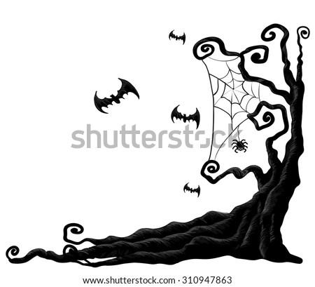 Halloween tree from vector - stock vector