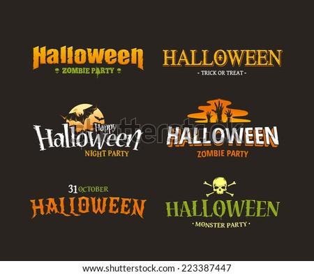 Halloween typography set. Six different styled artistic halloween titles. Vector illustration. - stock vector