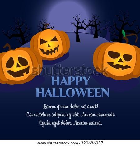 Halloween vector Background postcard in dark colors with three pumpkins - stock vector