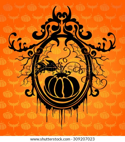Halloween vector background with black frame - stock vector