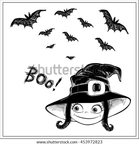 """Halloween vector card. Little Witch, bats and letters """"Boo!"""". Black ink on white background. This useful to poster, card, invitation for party, coloring book. - stock vector"""