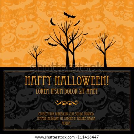 Halloween vector card  or background. Vector art. - stock vector