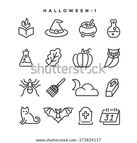 Halloween vector icons. Elements for print, mobile and web applications. - stock vector